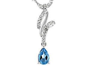 Swiss Blue Topaz Rhodium Over Silver Pendant With Chain .58ctw