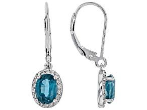 Teal Blue Kyanite Rhodium Over Silver Earrings 1.85ctw