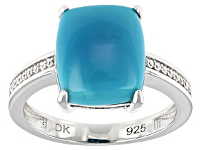 Blue Sleeping Beauty Turquoise Rhodium Over Silver Ring .07ctw