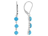Blue Sleeping Beauty Turquoise Rhodium Over Silver Earrings