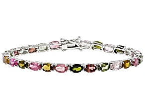 Multi-Color Tourmaline Rhodium Over Silver Bracelet 8.33ctw