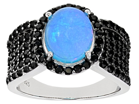 Blue Opal Rhodium Over Sterling Silver Ring 2.88ctw