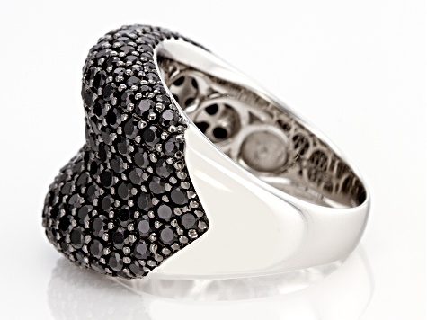 Black Spinel Rhodium Over Sterling Silver Cluster Band Ring 1.43ctw