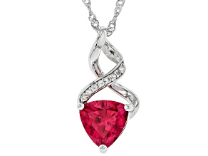 Red Lab Created Ruby Rhodium Over Silver Pendant With Chain 2.25ctw