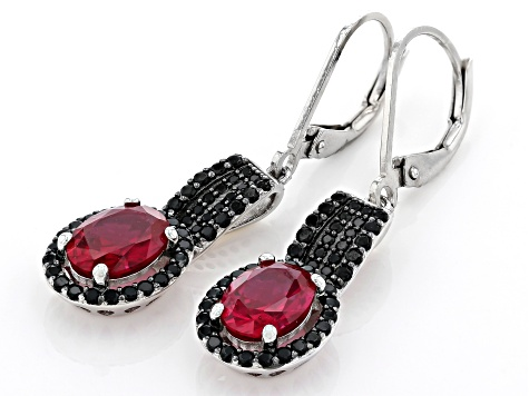 Red Lab Created Ruby Rhodium Over Silver Earrings 3.54ctw