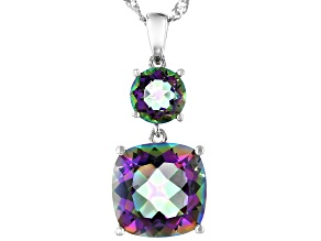 Multi-color Quartz Rhodium Over Silver 2-stone Pendant With Chain 4.06ctw