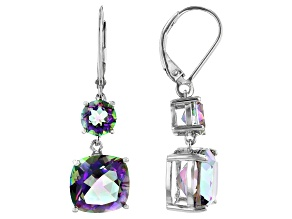 Multi-color Quartz Rhodium Over Silver Dangle Earrings 8.25ctw