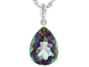 Multi-color Quartz Rhodium Over Silver Pendant With Chain 6.21ctw