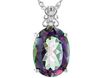 Picture of Multi-color Quartz Rhodium Over Sterling Silver Pendant With Chain 6.81ctw
