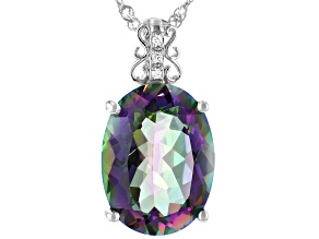 Multi-color Quartz Rhodium Over Sterling Silver Pendant With Chain 6.81ctw
