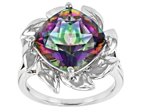 Multi-color Quartz Rhodium Over Sterling Silver Solitaire Ring 5.53ct