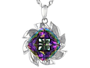 Multi-color Quartz Rhodium Over Silver Solitaire Pendant With Chain 5.53ct