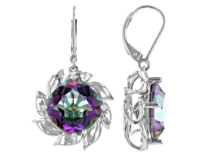 Multi-color Quartz Rhodium Over Sterling Silver Dangle Earrings 11.05ctw
