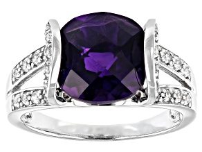 Purple Amethyst Rhodium Over Silver Ring 3.95ctw