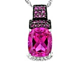 Pink Lab Created Sapphire Rhodium Over Sterling SIlver Slide with Chain 7.79ctw