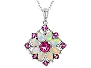 Multicolor Ethiopian Opal Rhodium Over Silver Pendant With Chain 2.02ctw