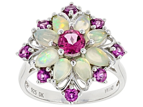 Multicolor Ethiopian Opal Rhodium Over Silver Ring 2.02ctw