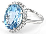 Sky Blue Topaz Rhodium Over Silver Ring 10.68ctw