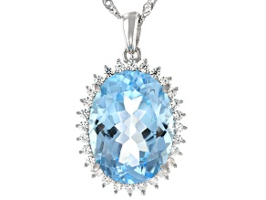 Sky Blue Topaz Rhodium Over Silver Pendant with Chain 10.68ctw