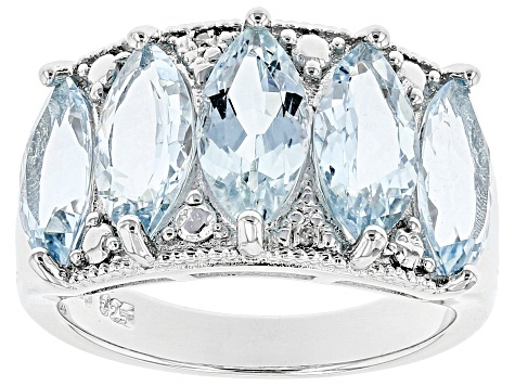 Blue Aquamarine Rhodium Over Sterling Silver Band Ring 4.36ctw