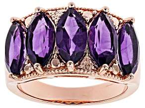Purple amethyst rose gold over silver ring 3.96ctw