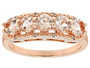 Pink morganite 18k rose gold over sterling silver band ring .99ctw