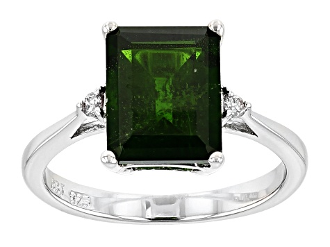 Green Russian Chrome Diopside Sterling Silver Ring 2.95ctw