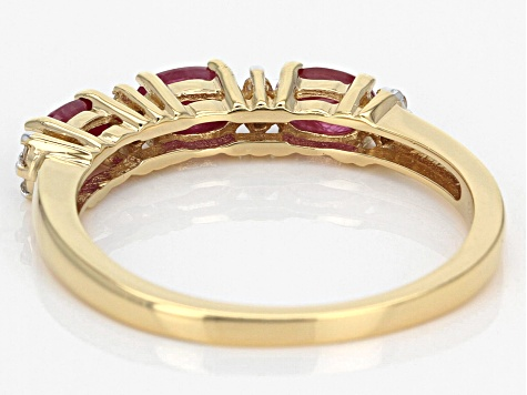 Red Ruby 18k Yellow Gold Over Sterling Silver Band Ring .94ctw