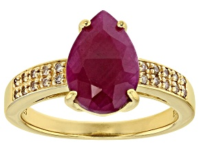 Red Ruby 18k Gold Over Silver Ring 3.49ctw