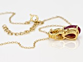 Red Ruby 18k Gold OverSilver Pendant with Chain 3.44ctw