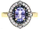 Blue tanzanite 18k gold over silver ring 1.57ctw