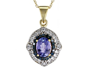 Blue tanzanite 18k gold over silver pendant with chain 1.58ctw