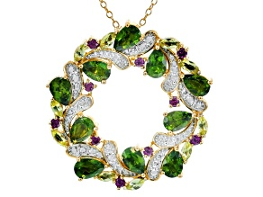 Green chrome diopside 18k gold over silver pendant/brooch with chain 4.67ctw
