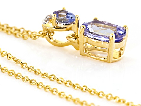 Blue tanzanite 18k gold over silver pendant with chain 1.21ctw
