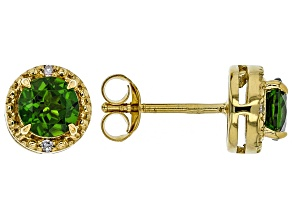 Green Russian Chrome Diopside 18k Yellow Gold Over Sterling Silver Stud Earrings 1.15ctw