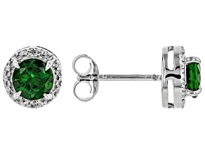 Green Russian Chrome Diopside Rhodium Over Sterling Silver Stud Earrings 1.15ctw