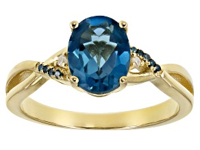 Blue topaz 18k gold over sterling silver ring 1.98ctw