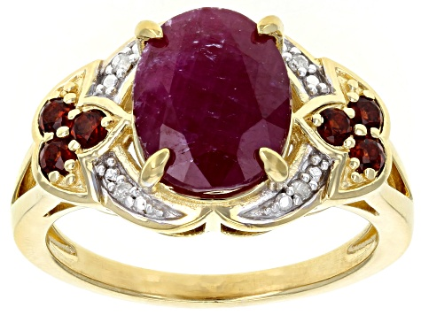 Red Ruby 18k Yellow Gold Over Sterling Silver Ring 3.89ctw
