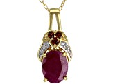 Red Ruby 18k Yellow Gold Over Sterling Silver Pendant With Chain 3.77ctw