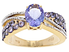 Blue tanzanite 18k gold over sterling silver ring 1.68ctw