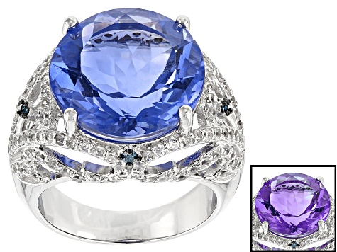Blue Color Change Fluorite Rhodium Over Sterling Silver Ring 14.17ctw