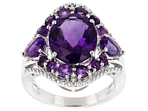 Purple Amethyst Rhodium Over Sterling Silver ring 4.69ctw