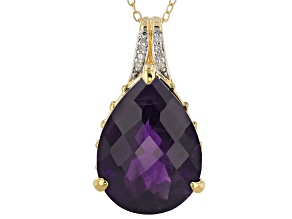 Purple amethyst 18k yellow gold over silver pendant with chain 10.22ctw