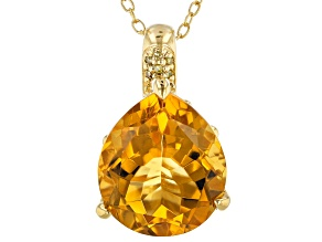 Yellow citrine 18k yellow gold pendant with chain 5.80ctw