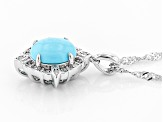 Blue turquoise rhodium over silver pendant with chain .09ctw