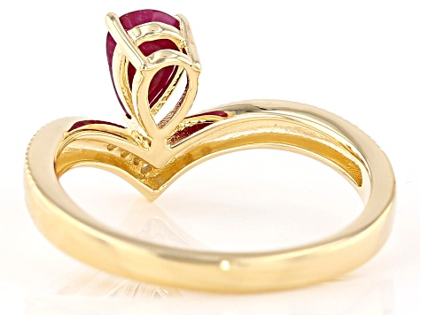 Red ruby 18k gold over silver ring .90ctw