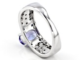 Blue Tanzanite Rhodium Over Sterling Silver Ring 1.16ctw
