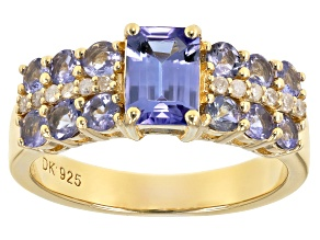 Blue tanzanite 18k gold over silver ring 1.79ctw