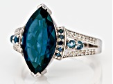 Blue topaz rhodium over silver ring 4.19ctw