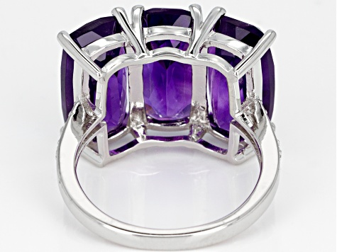 Purple amethyst rhodium over silver ring 11.24ctw